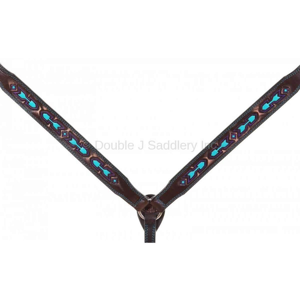 Bc918 - Brown Vintage Breast Collar Painted And Tooled Tack