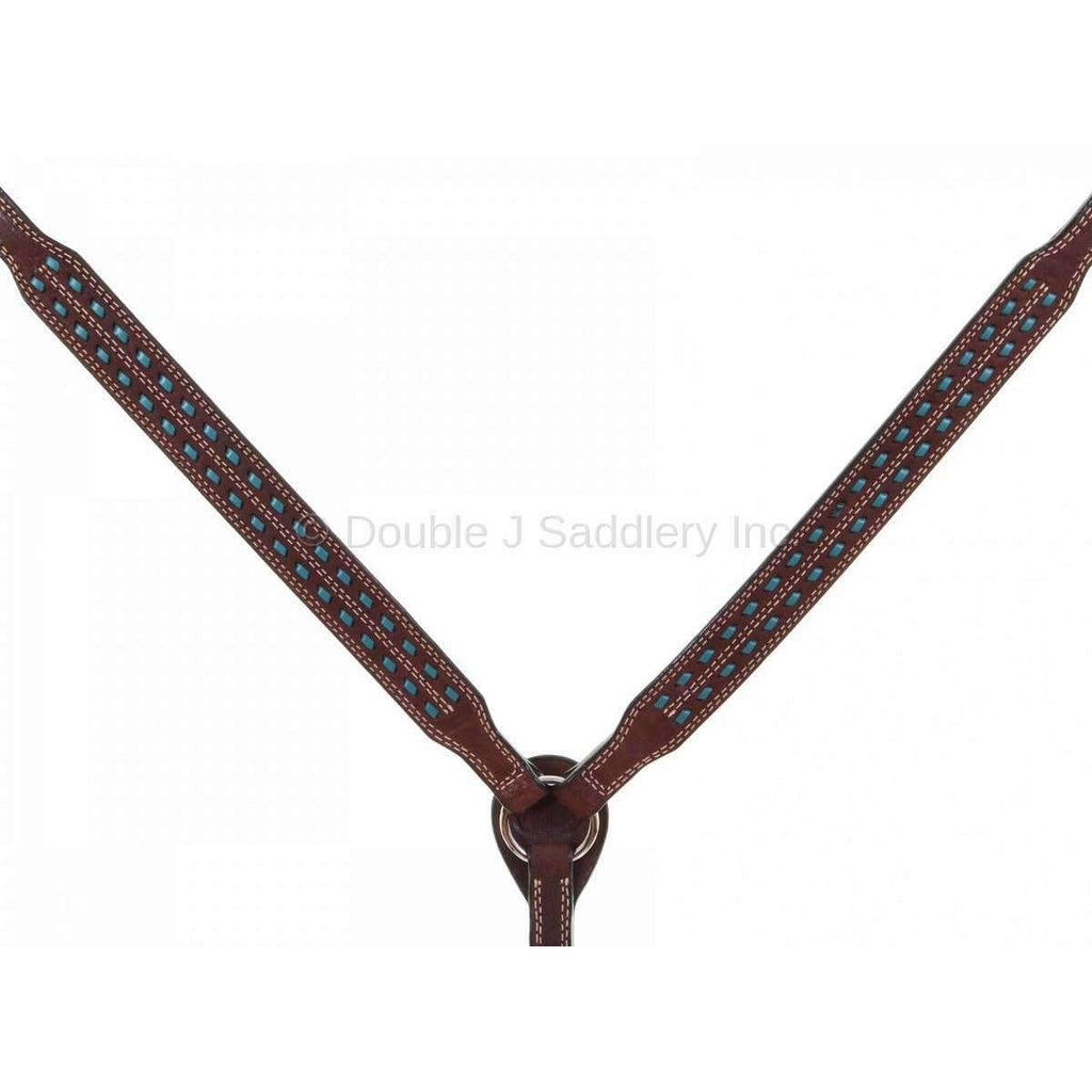 Bc915 - Brown Rough Out Leather Breast Collar Tack
