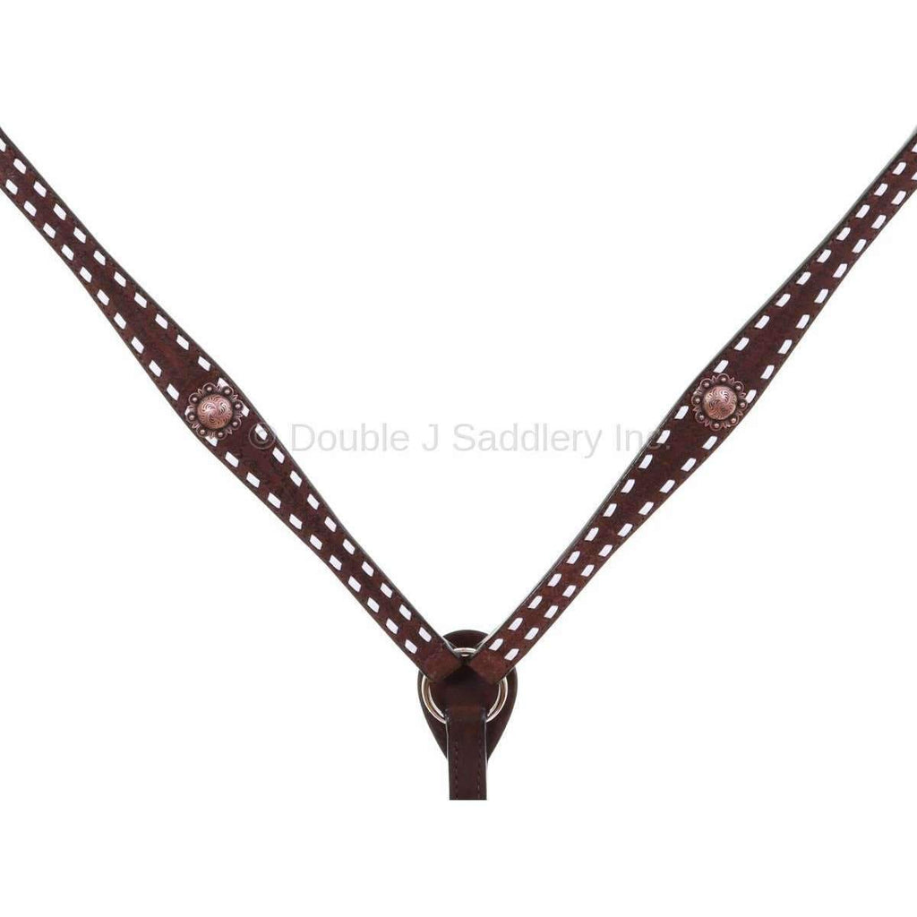 Bc906 - Brown Leather Buck Stitched Breast Collar Tack