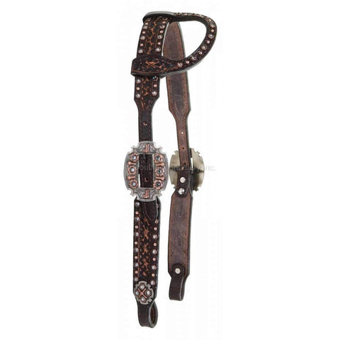 Brown Vintage Tooled Single Ear Headstall With Crystals