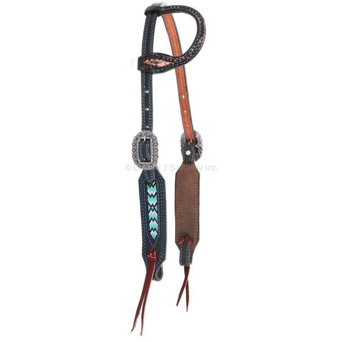 Brown Vintage Beaded Single Ear Headstall
