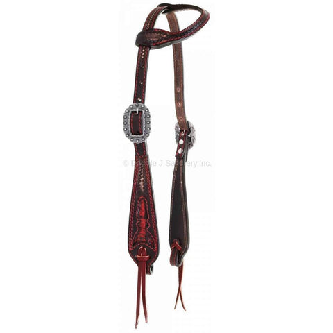 Brown Vintage Single Ear Headstall with Black/Red Gator Inlays