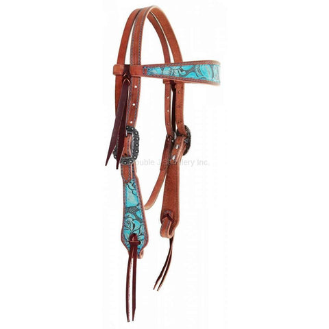 Eagle Antique Turquoise Overlay Headstall