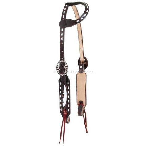 Brown Vintage Leather Single Ear Headstall with White Glow Inlay