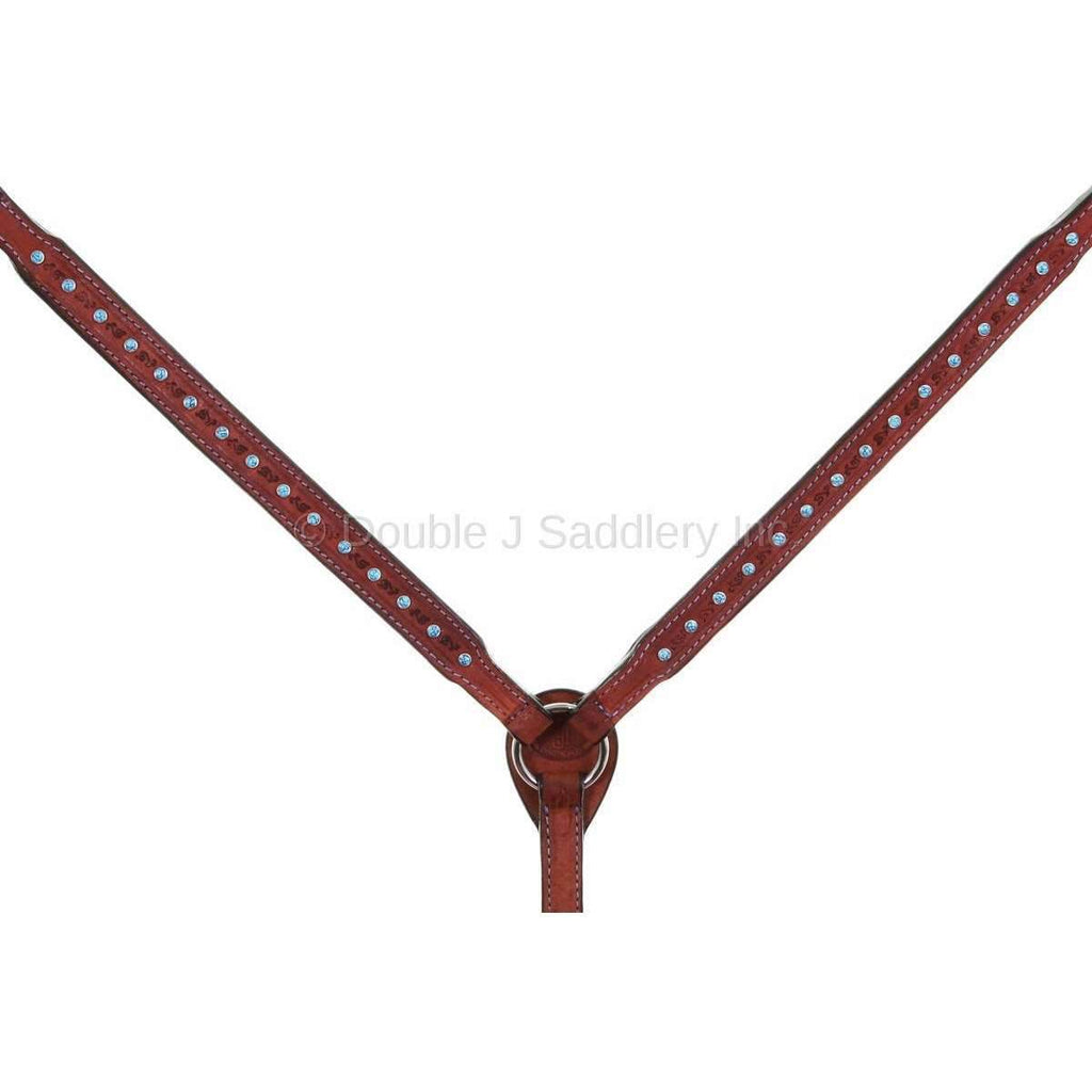 Chestnut Rough Out Tooled and Studded Breast Collar
