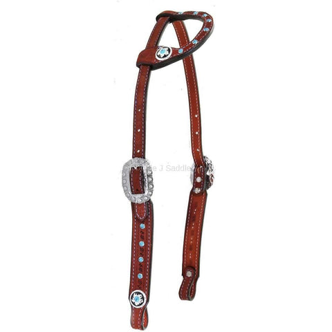 Chestnut Rough Out Tooled and Studded Single Ear Headstall