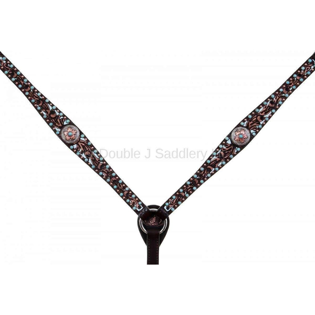 BC950 - Brown Vintage Tooled and Studded Breast Collar