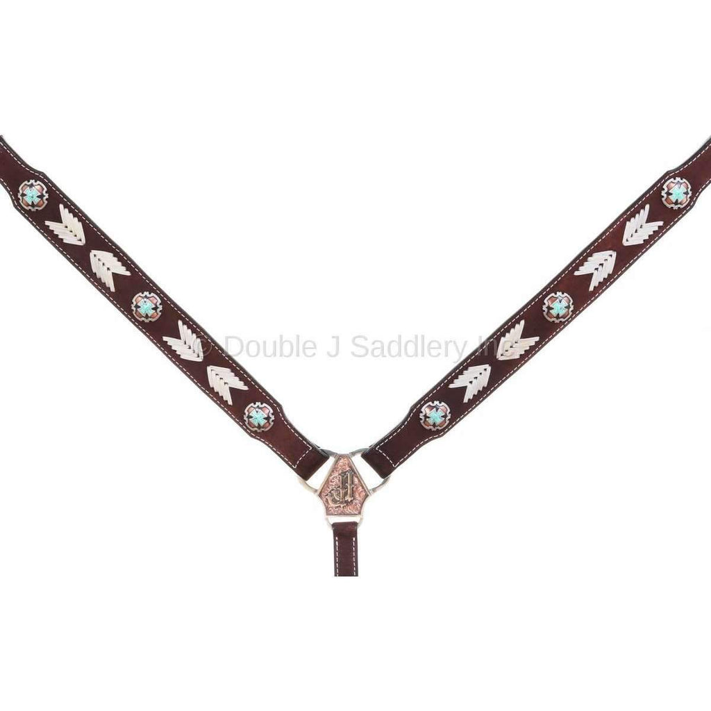 BC951- Brown Rough Out Arrow Design Breast Collar