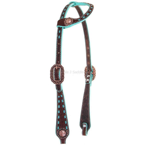 H984 - Brown Rough Out Buck Stitched Single Ear Headstall