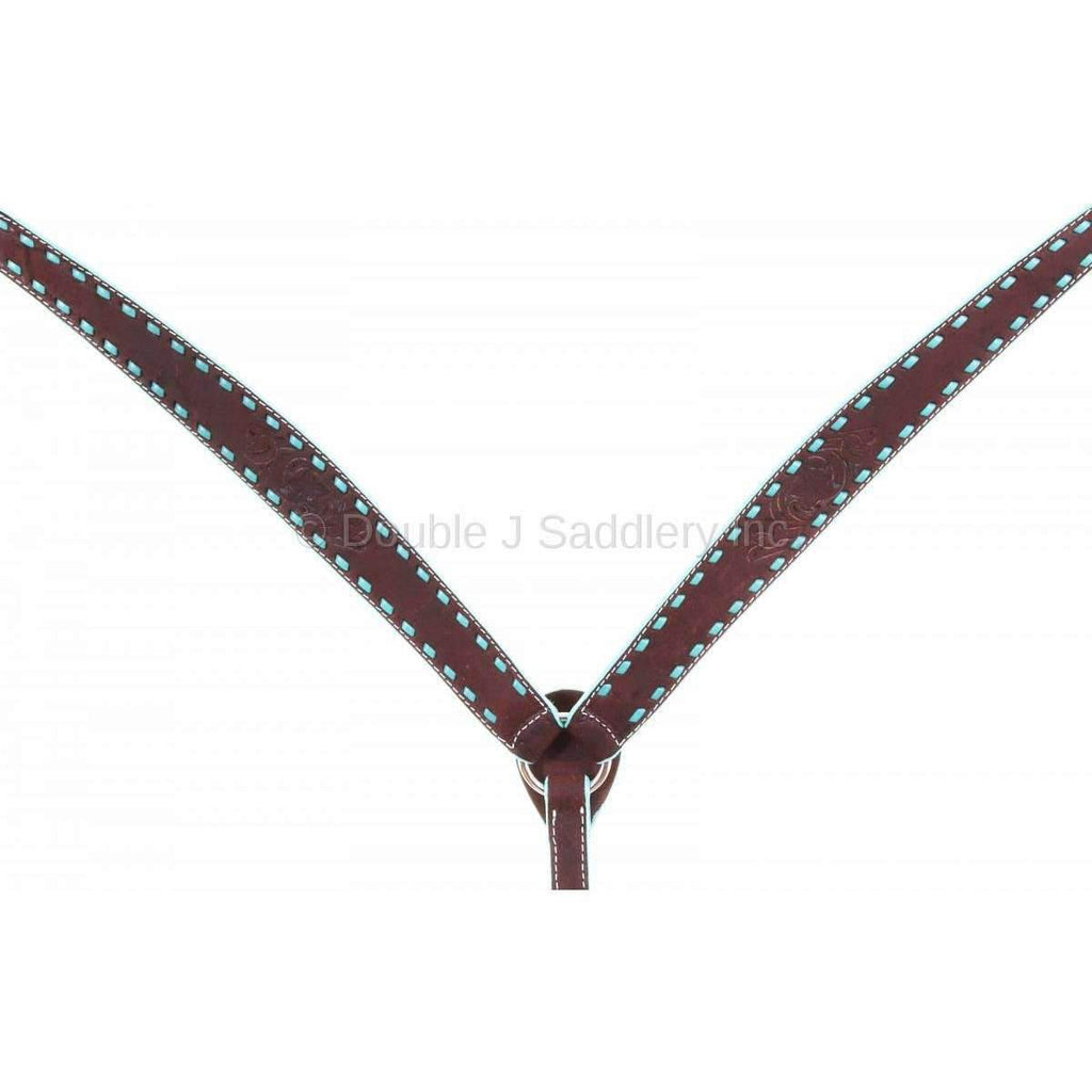 BC954 - Brown Rough Out Buck Stitched Breast Collar