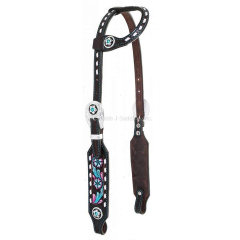 H985 - Brown Vintage Tooled and Painted Single Ear Headstall