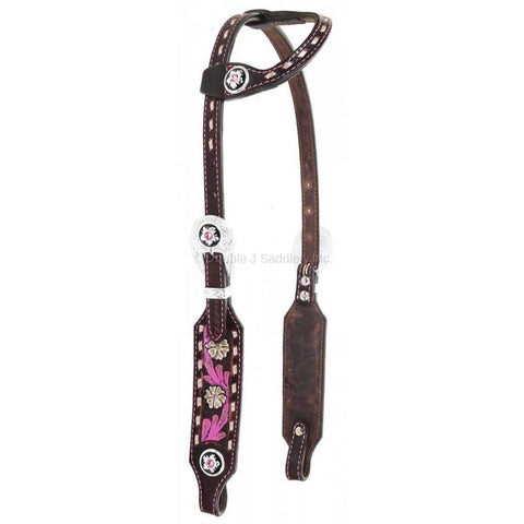 H986 - Brown Vintage Tooled and Painted Single Ear Headstall