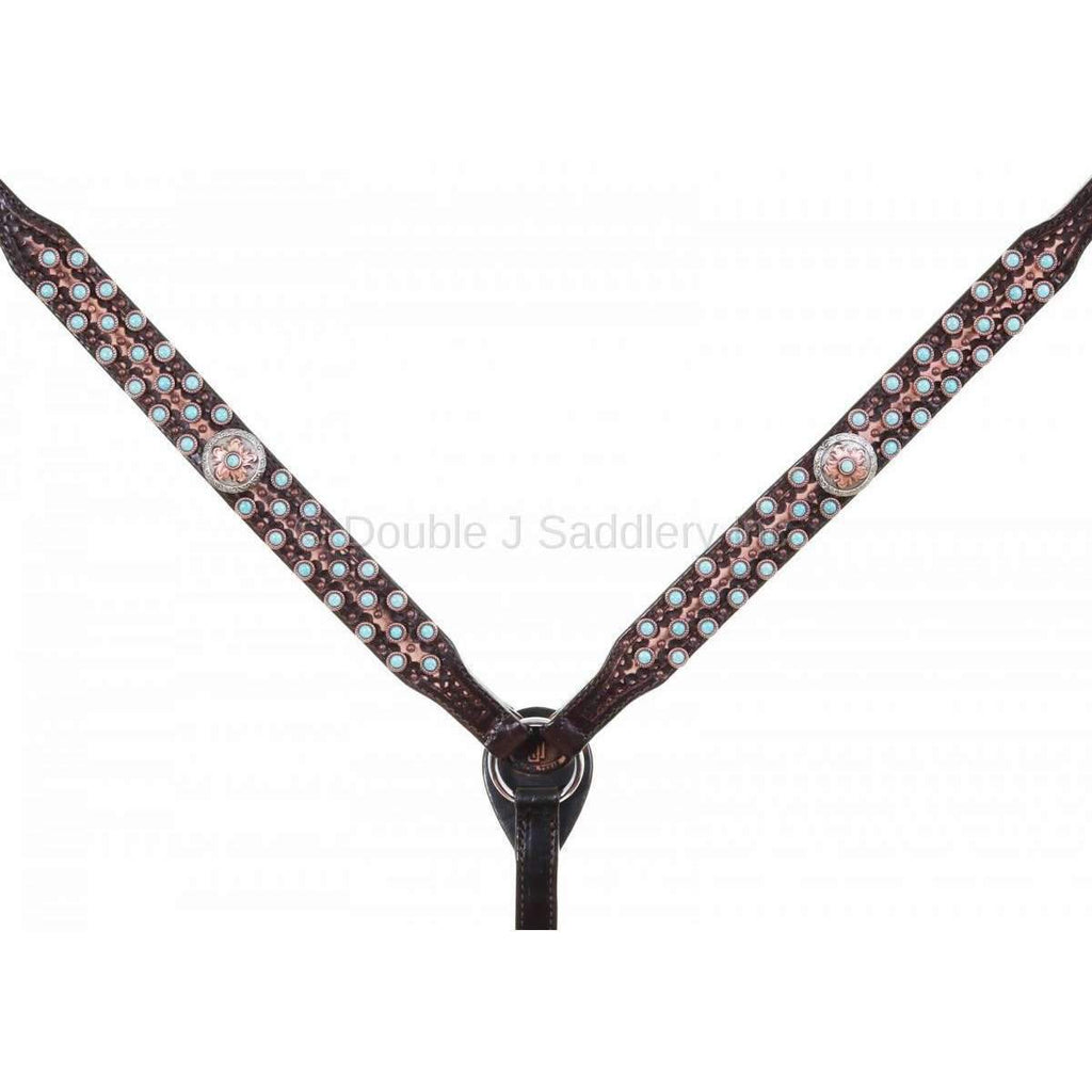 BC958 - Brown Vintage Tooled and Studded Breast Collar