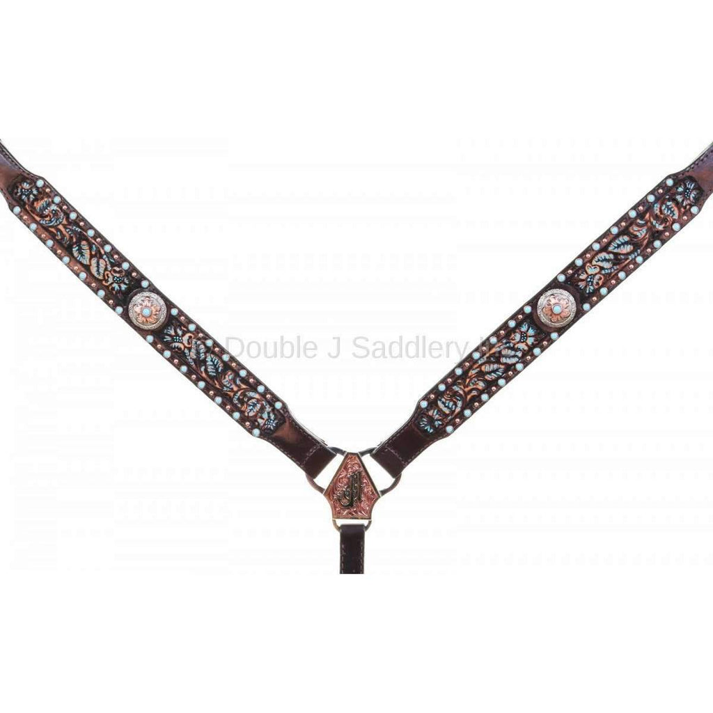 BC962C - Brown Vintage Tooled Breast Collar