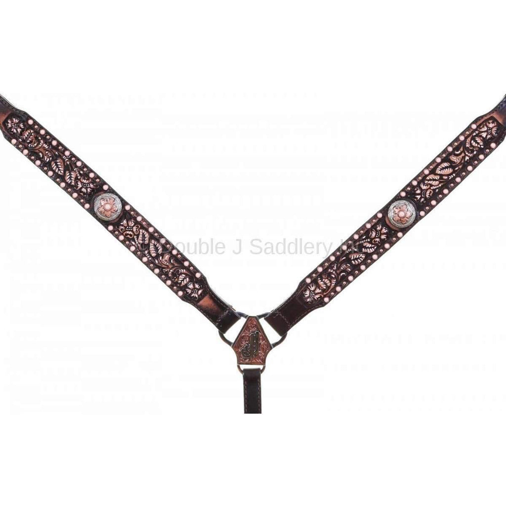 BC962D - Brown Vintage Tooled Breast Collar
