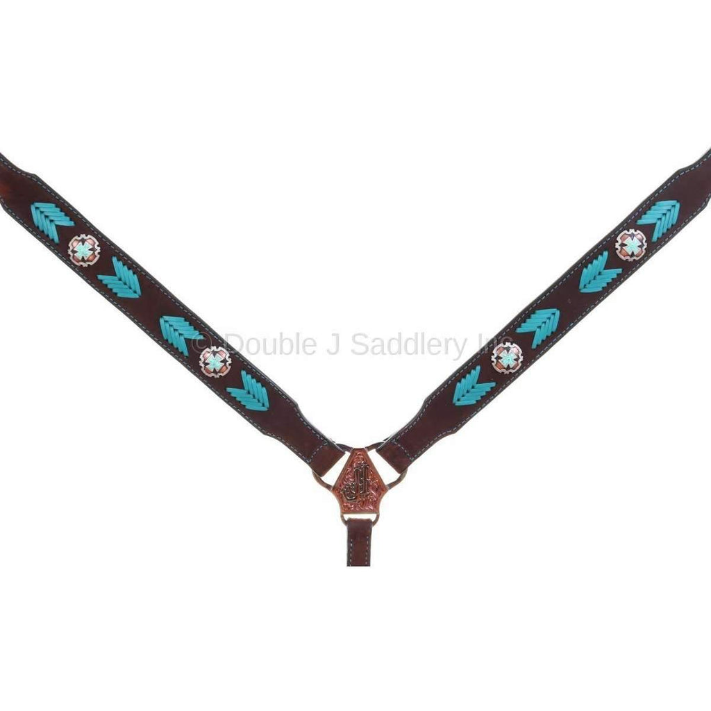 BC971 - Brown Rough Out Buck Stitched Breast Collar