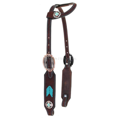 H999 - Brown Rough Out Buck Stitched Crystal Single Ear Headstall