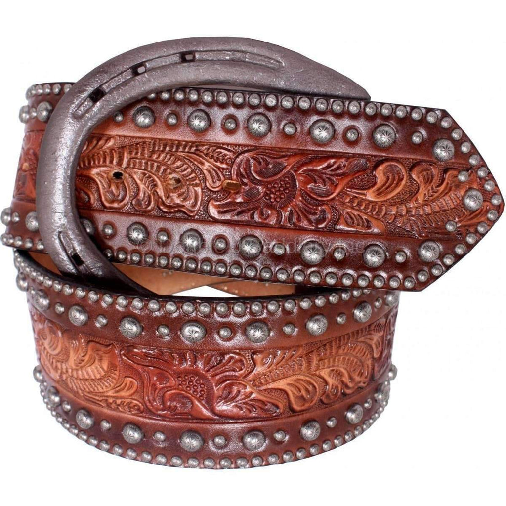 Brown Floral Tooled Painted Belt