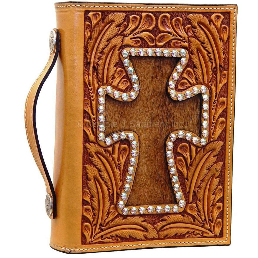 Bible02 - Hand-Tooled & Roan Cowhide Cross Bible Cover Accessories