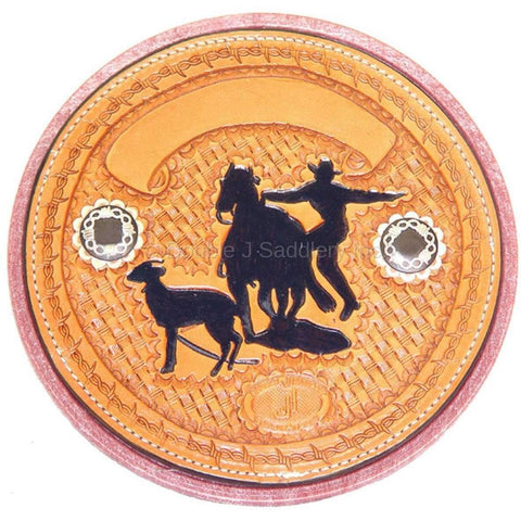 Hand-tooled goat string can with custom logo & conchos.