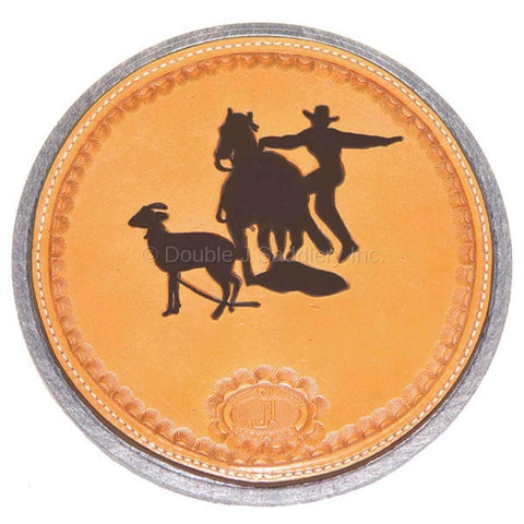 Hand-tooled goat string can with custom logo.