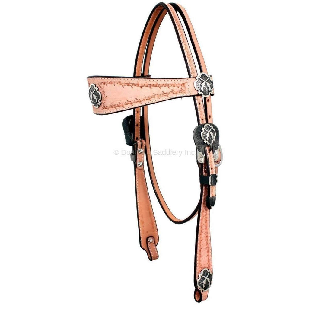 Rough Out Hand-Tooled Headstall with Pistol Conchos