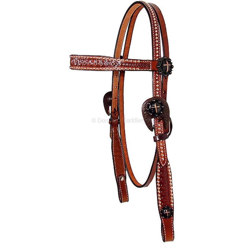 Chestnut straight browband headstall with nailheads & cross conchos.