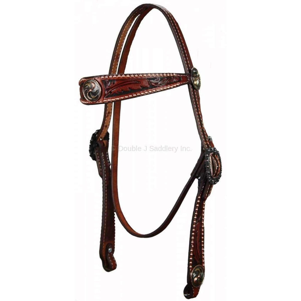 H410 - Chestnut Hand-Tooled Headstall Tack