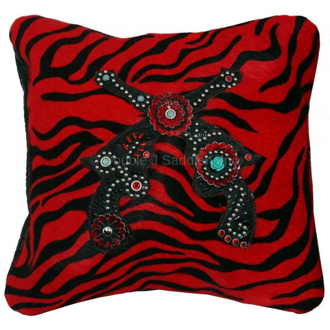 Red Zebra Cowhide pillow with pistols.