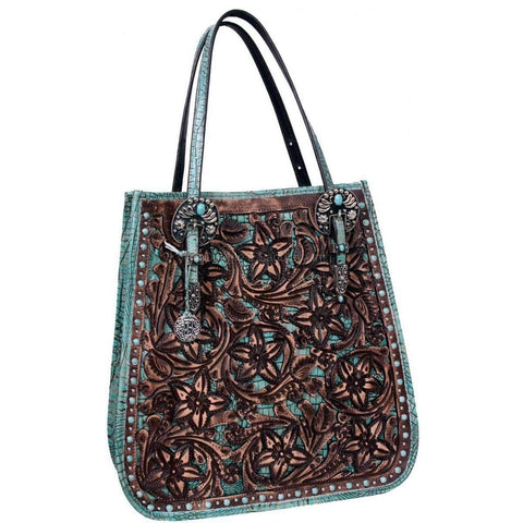 Db12 - Brown Floral Tooled Doctors Bag Handbag