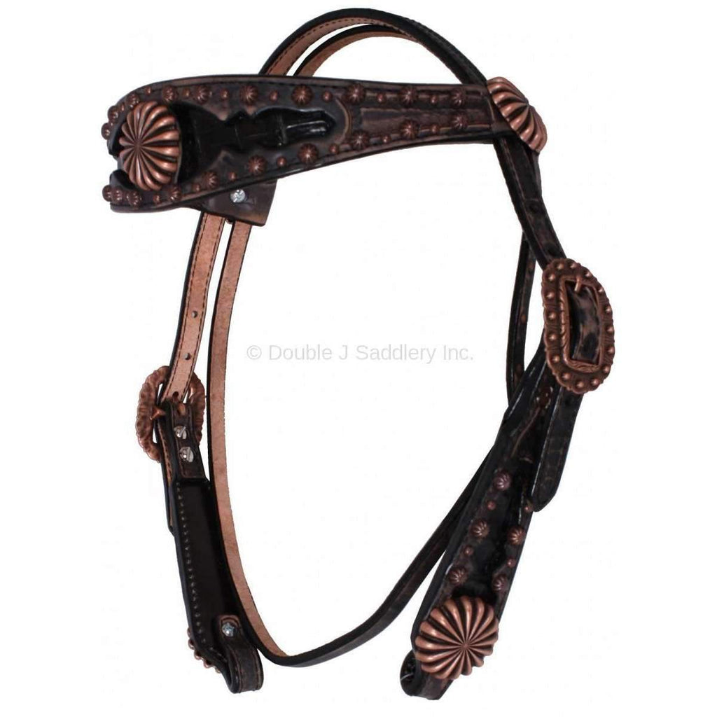 Black Vintage Headstall with Black Caiman Gator Inlays