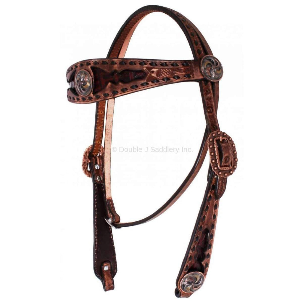 H1033 - Brown Vintage Inlayed Buck Stitched Headstall Tack