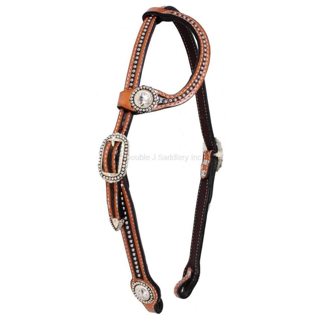 Natural Leather Studded Single Ear Headstall