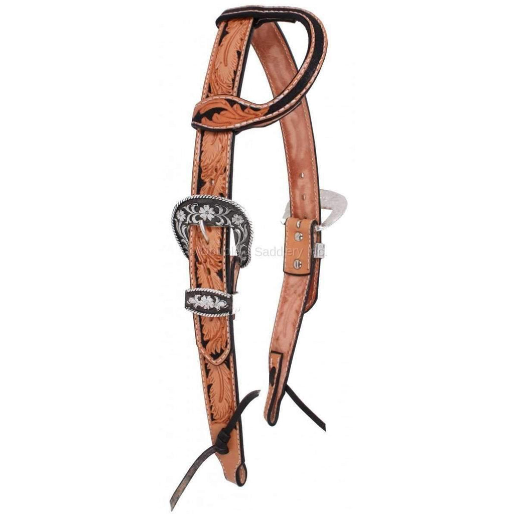 H1055 - Natural Leather Hand-Tooled Headstall Tack