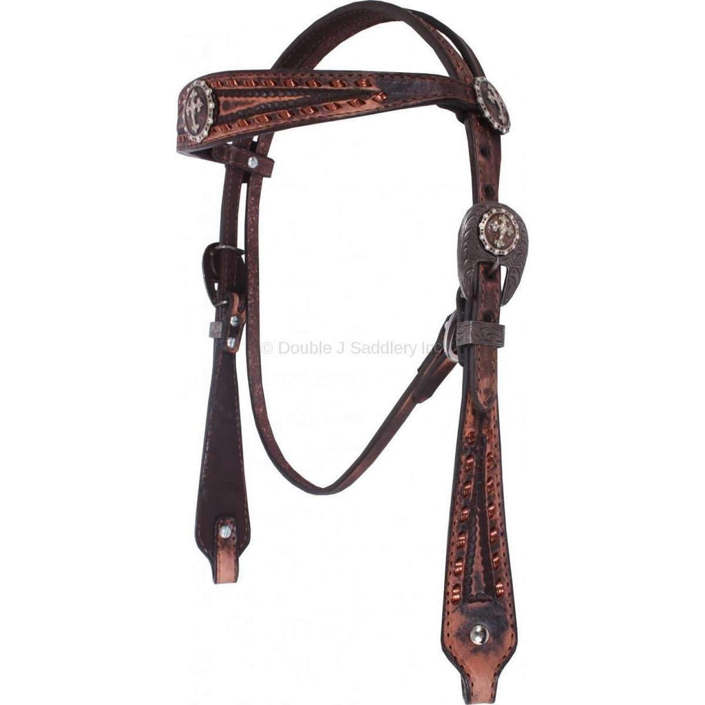 Vintage Brown Hand-Tooled Headstall with Copper Buckstitch