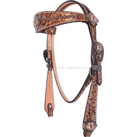 Eagle Grey/Copper Floral Headstall with Dots