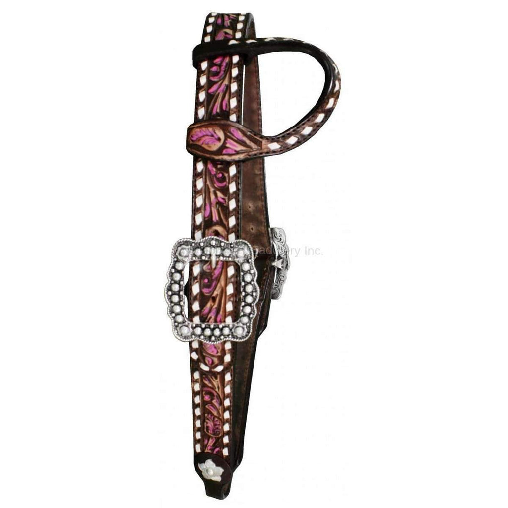 H1093 - Vintage Single Ear Tooled And Painted Headstall Tack