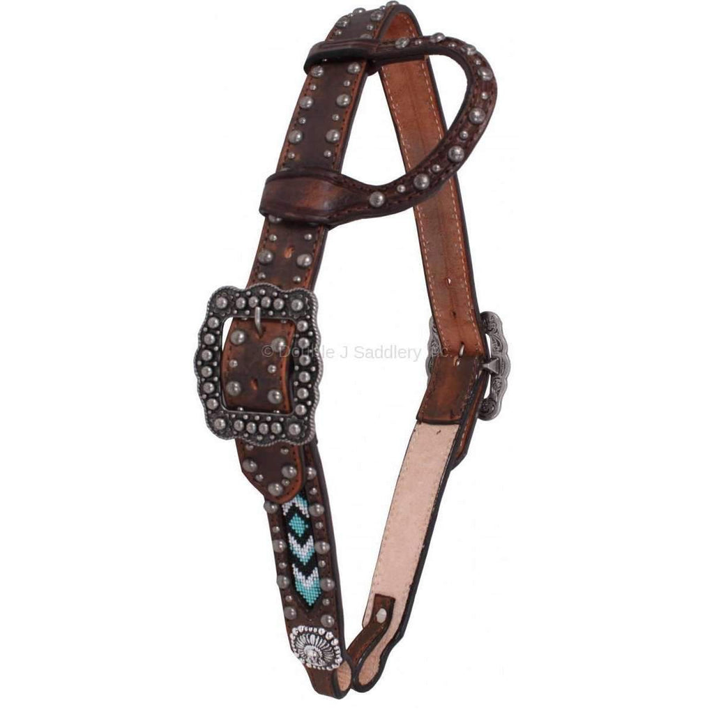 Brown Vintage Beaded Inlay Headstall