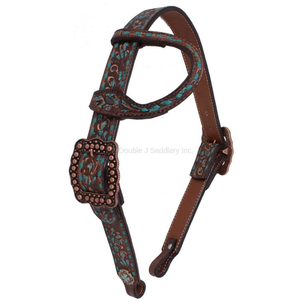 Brown Vintage Tooled and Buckstitched Single Ear Headstall