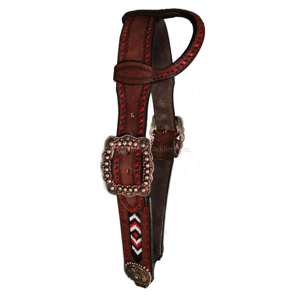 Brown Rough Out Beaded Single Ear Headstall
