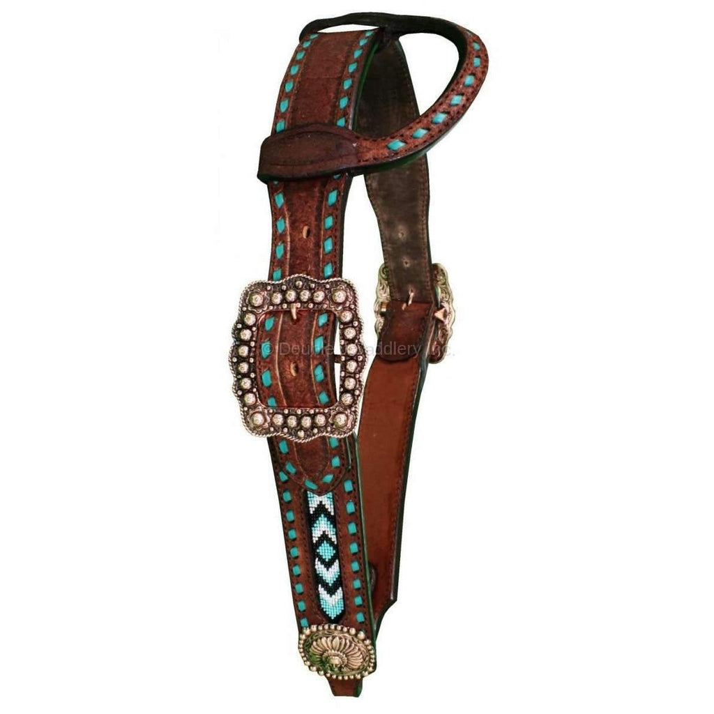 H1087 - Brown Rough Out Beaded Single Ear Headstall Tack