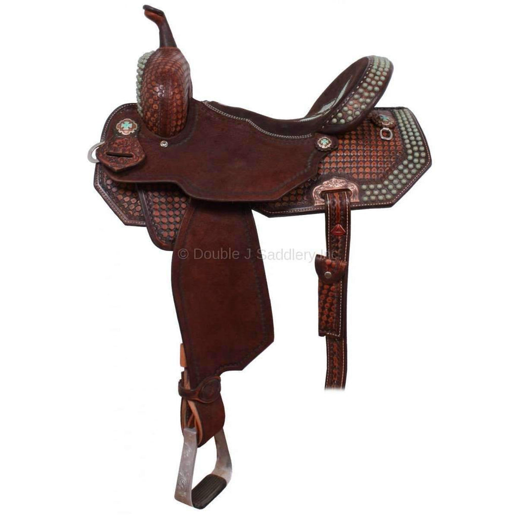 1/2 Tooled Brown Vintage Pozzi Pro Barrel Racer Saddle. MATCHING TACK H736, H806, BC714, AND BC783 AVAILABLE