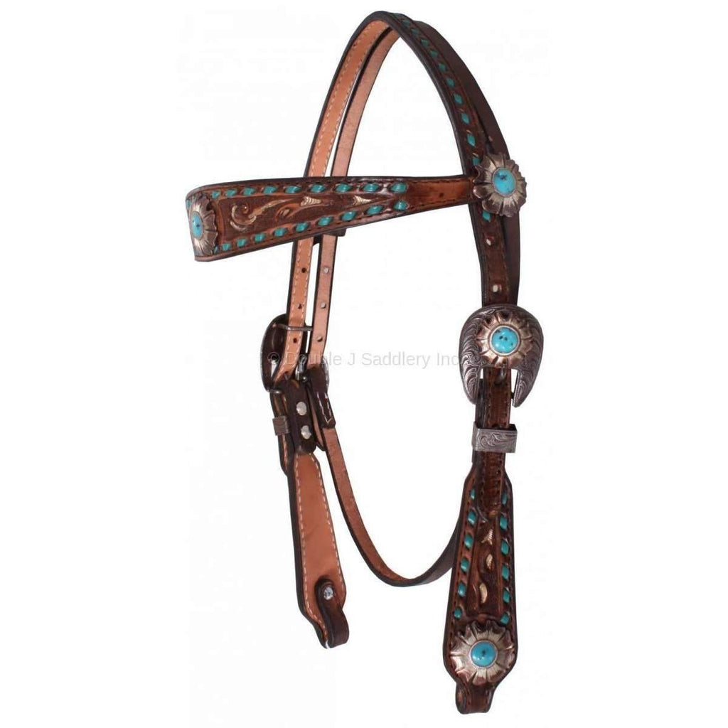 Brown Vintage Tooled Headstall with Buckstitch