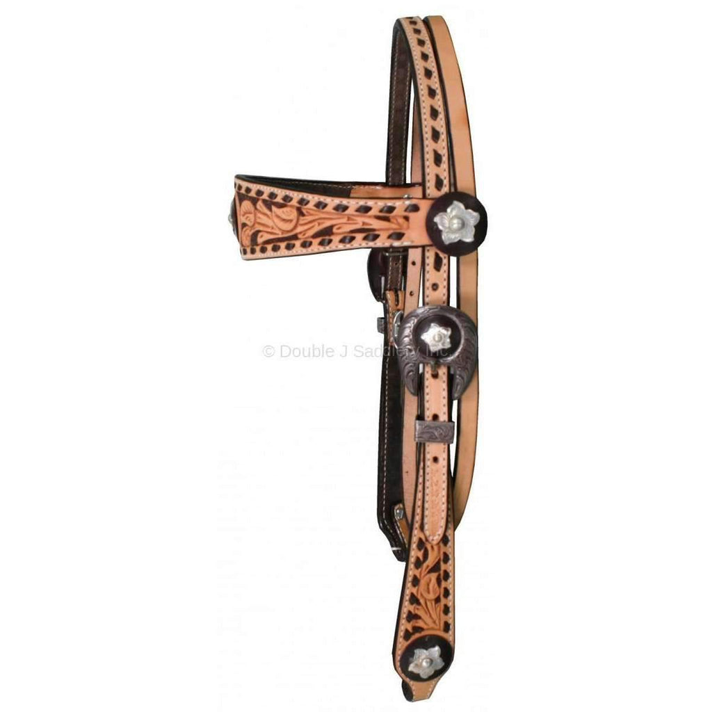 Natural Leather Tooled Headstall