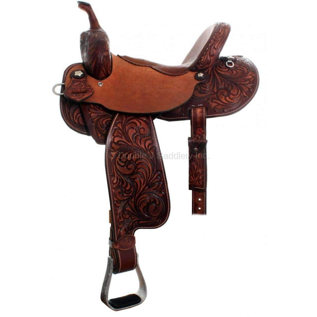 3/4 Tooled Cognac Brittany Pozzi Barrel Racer Saddle. MATCHING TACK H680 AND BC654 AVAILABLE