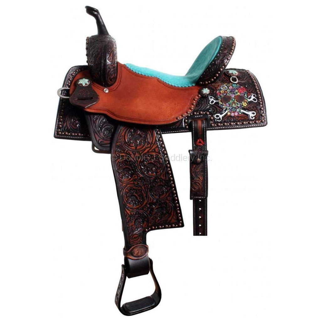 3/4 Tooled Pozzi Pro Barrel Racer Saddle with Painted Skull. MATCHING TACK AVAILABLE...H633 AND BC609