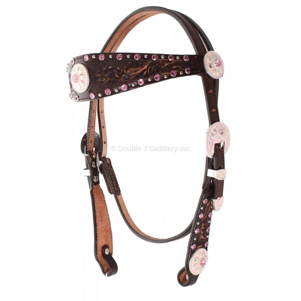 Brown Vintage Tooled and Crystaled Headstall