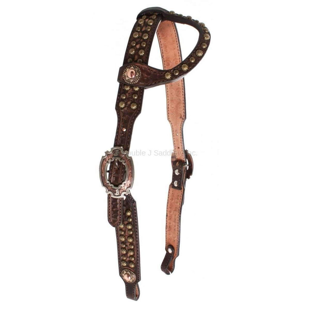 Brown Vintage Studded Single Ear Headstall
