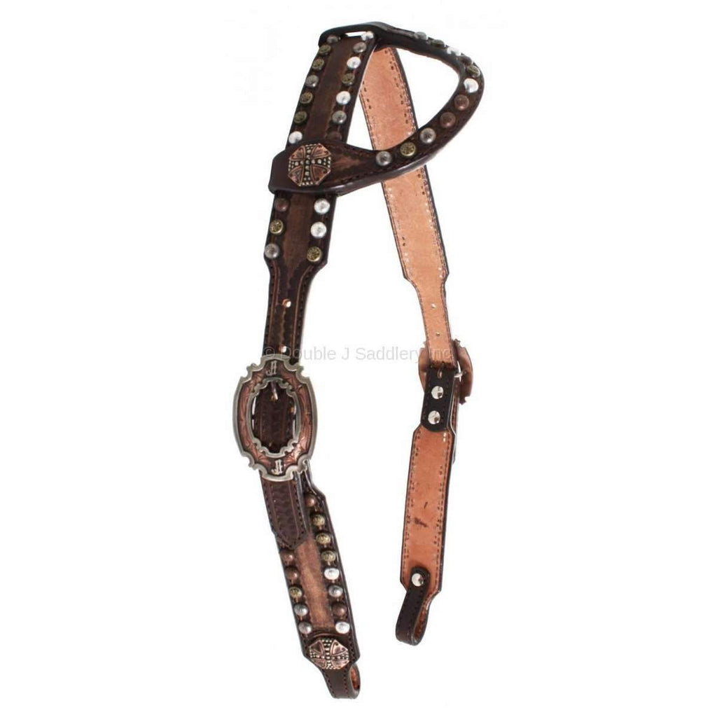 Brown Vintage Single Ear Studded Headstall