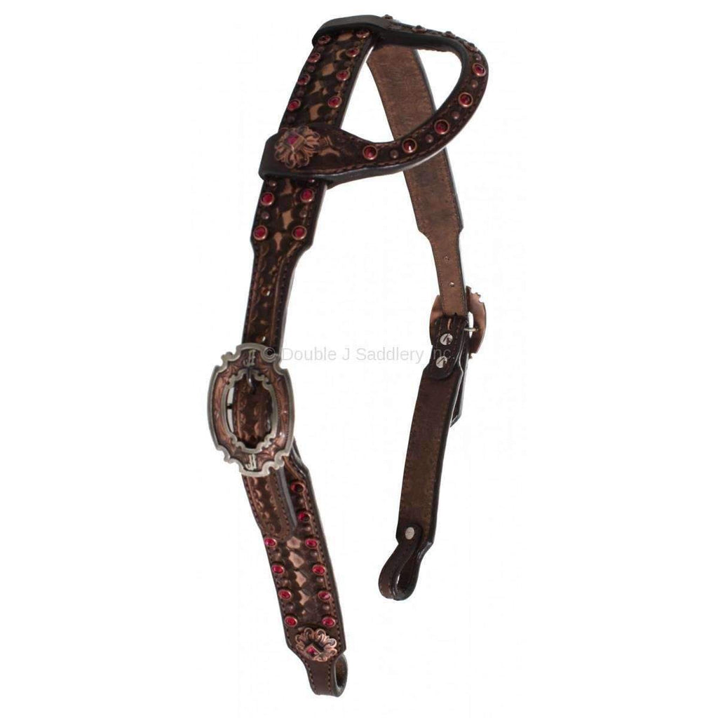 H629 - Brown Vintage Tooled Headstall Tack